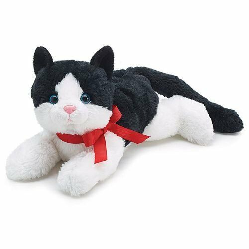 Black and White Plush Kitty Cat with Red Bow for Valentine's Day