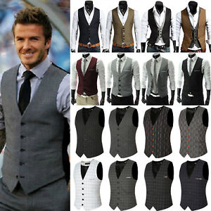 fashion men s formal dress business vest suit slim casual tuxedo