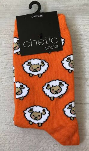 Ladies//Girls Bright Orange With Small Sheep On Cotton Ankle Socks