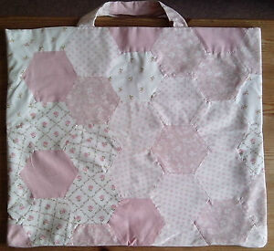 Handmade-Bag-with-Laura-Ashley-Hexagon-Cotton-Material-fully-lined-46-5-x-40cm