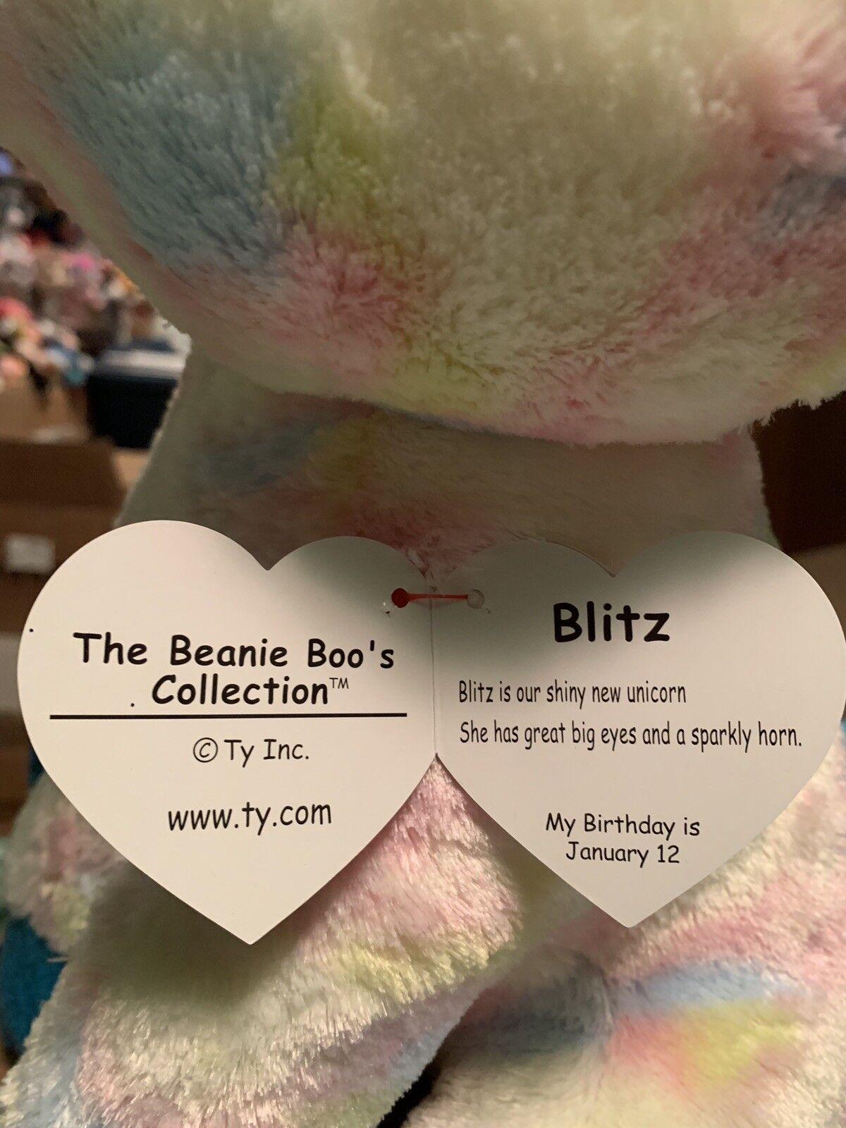 "Ty BLITZ -Pastel Tie-Dyed Sparkly bluee bluee bluee Unicorn 18"" Jumbo Beanie Boo Buddy  HTF   56369d"