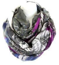 B99 Feather Skull Chain Large Infinity Scarf Black Gray Blue Purple