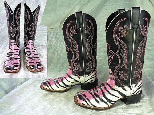Nocona Black & White w/ Pink Trim Stingray Zebra W