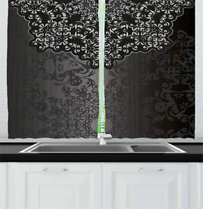 Details about Dark Grey Kitchen Curtains 2 Panel Set Window Drapes 55\