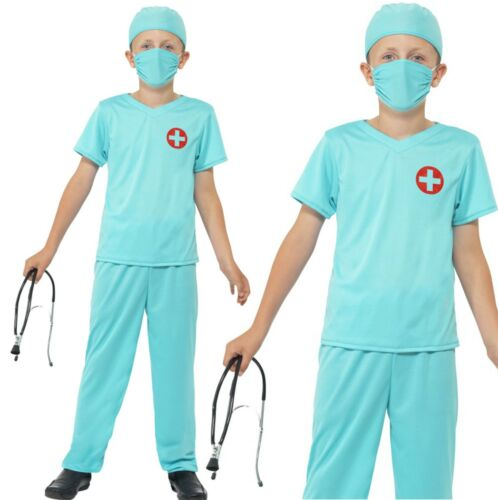 Boys Kids Doctor Surgeon Fancy Dress Costume /& Stethoscope World Book Day Outfit