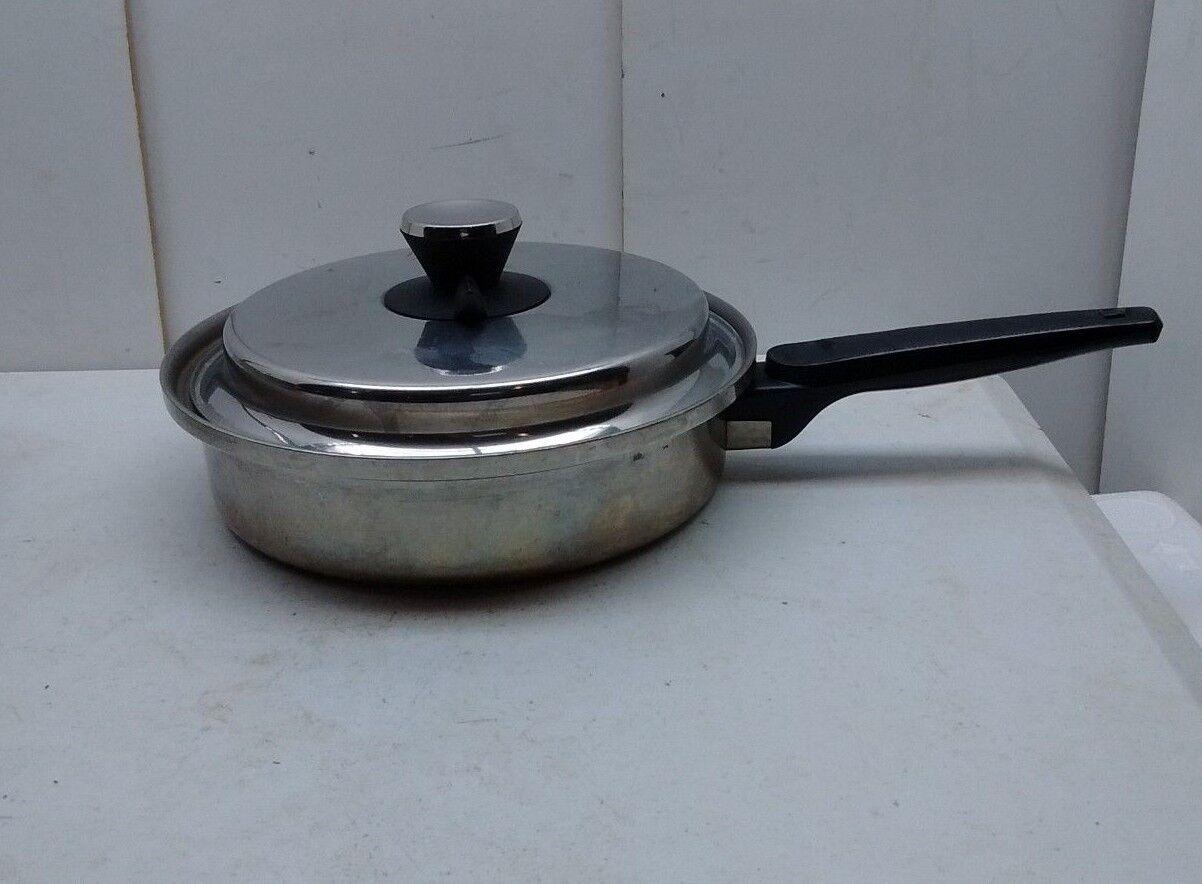 EKCO EHP Tri-Clad Titanium Stainless Steel 8  Skillet Fry 2 Qt Saute Pan & Lid