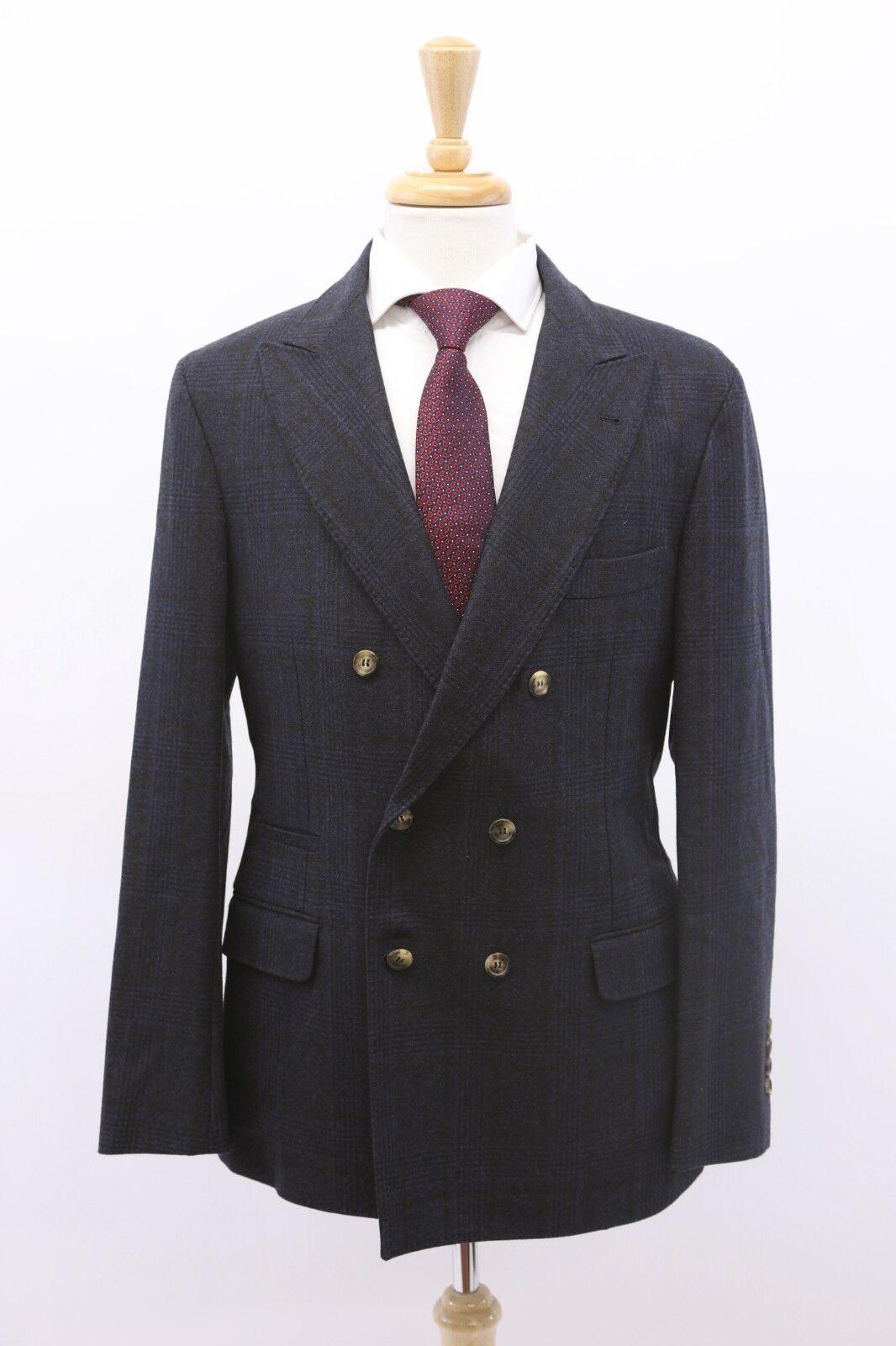 NWT Brunello Cucinelli Mens 100% Wool Plaid Print DB Sportcoat 50 40US A191