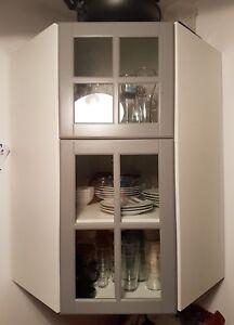 ikea metod wei e wandeckvitrine mit b den mit bodbyn grau t ren ebay. Black Bedroom Furniture Sets. Home Design Ideas