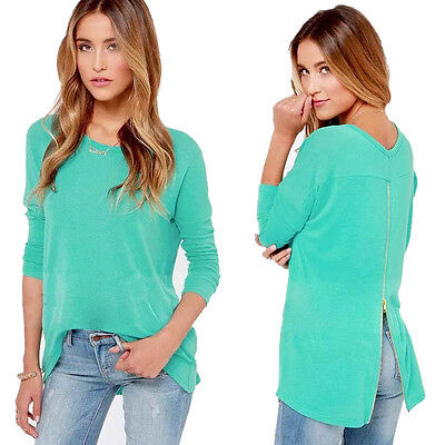 Fashion Women Loose Zipper Casual Long Sleeve Shirt Tops O-Neck Blouse Excellent
