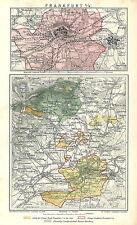 Historische Stadtkarte 1884: Frankfurt a/M. Stadtplan farbig am Main (B13)