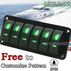 Details about 6 Gang Rocker Switch Panel Circuit Breaker Green LED on