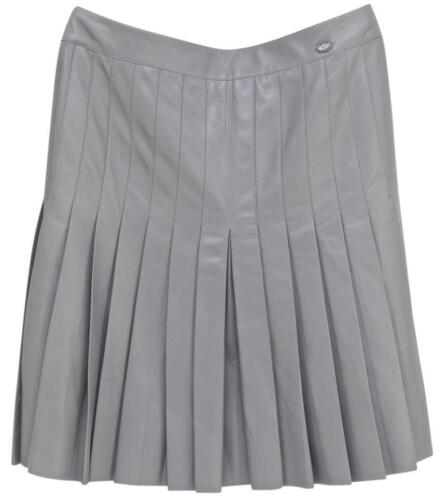 Chanel Skirt Leather Lambskin Dress Grey Pleated Knee Length A Line 38 2005 by Chanel
