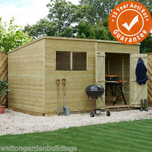 Wooden garden shed pressure treated 10x8 12x8 14x8 pent for 12x8 shed with side door