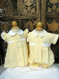 Will-039-beth-Boy-Girl-Infant-Baby-Yellow-Romper-Dress-Matching-Twins-3m-NWT