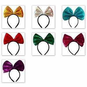 Sequin-large-Bow-Headband-Head-Band-Shiny-Glitter-Hairband-Party-Dress-Up