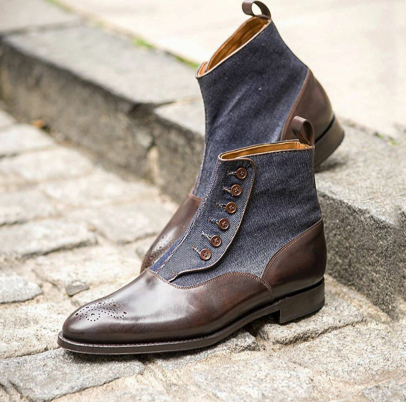 MEN NEW HANDMADE GENIUNE DENIM LEATHER SHOES BROGUE BROWN BUTTONED FORMAL BOOTS