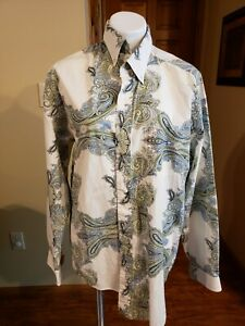 Stetson-Men-039-s-Paisley-Print-Long-Sleeve-Button-Down-Shirt-Size-Large
