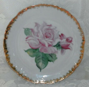 CLEARANCE-Vintage-Pink-Roses-Gold-Edges-Cabinet-Display-Plate