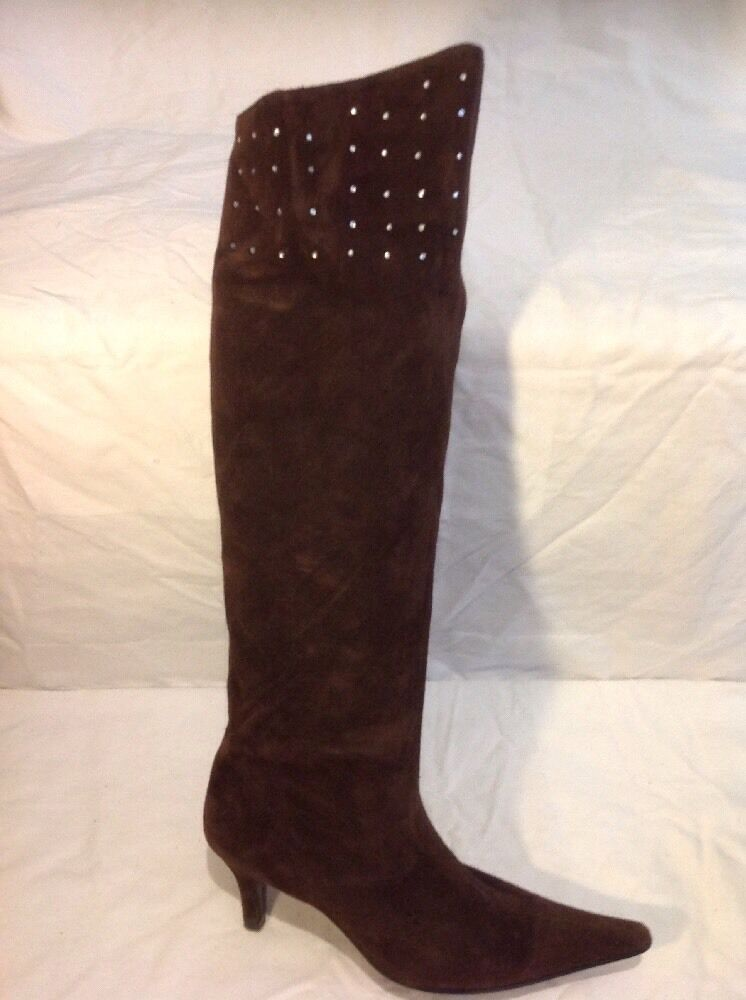 Althea Brown Over Knee Suede Boots Size 41