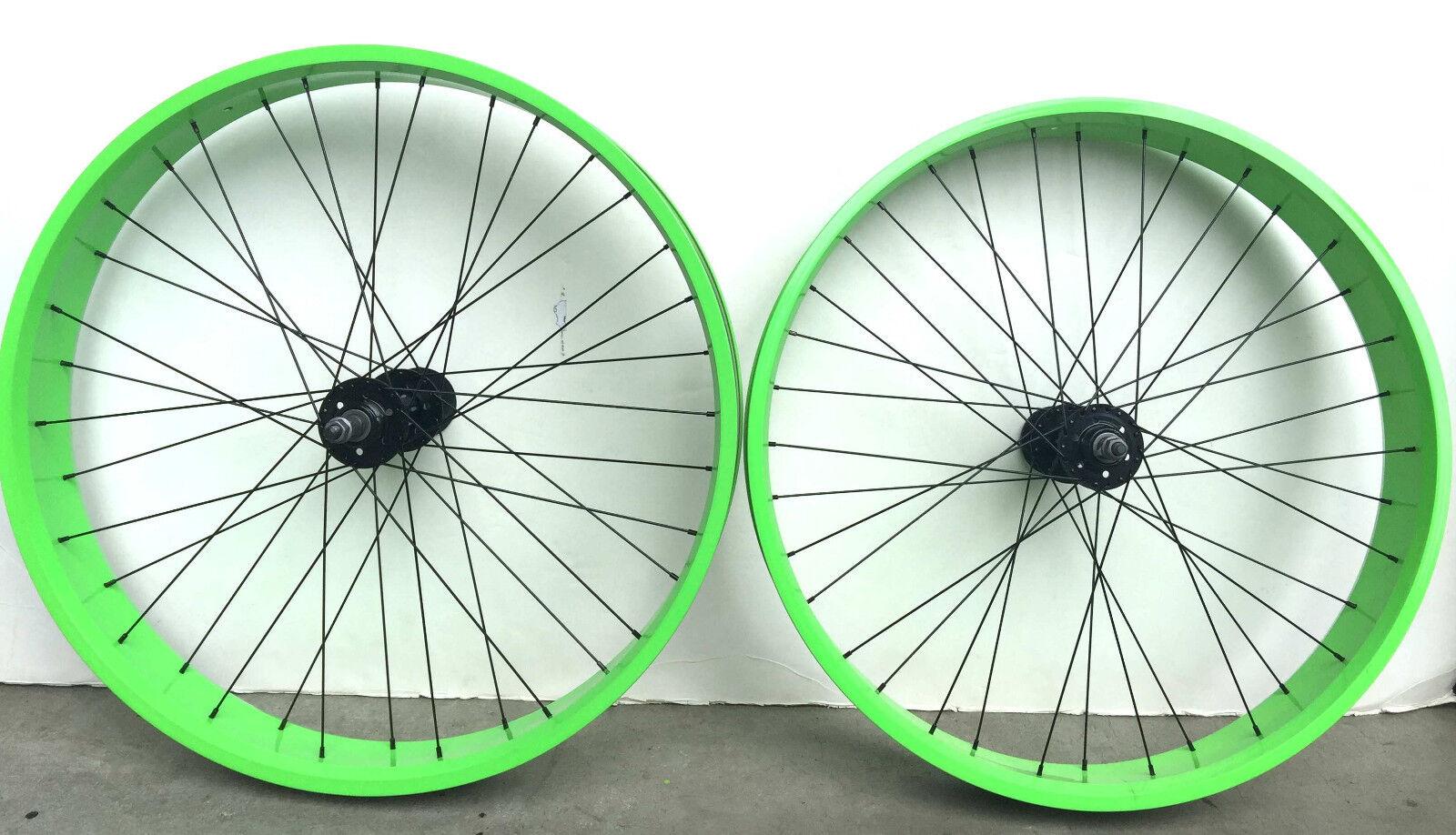 26  x 4.0 Rear & Front Fat Bike Wheels set 7 speed 36 spokes Disc Brake Grün