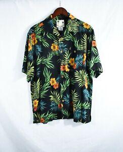 Banana Cabana Herrenhemd Button Down Kurzarm Hawaii 100% Seide Größe M