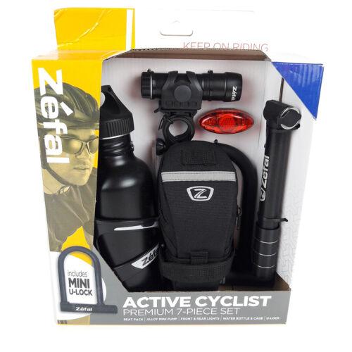 Zefal Active Cyclist 7 Piece Kit Mini Pump//Front /& Rear Lights //Bottle //U-Lock