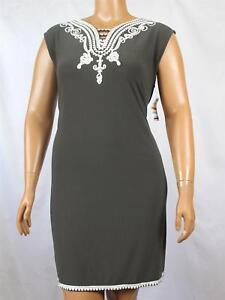 3X Alfani Plus Size Soutache-Trim Knit Dress Urban Green ...