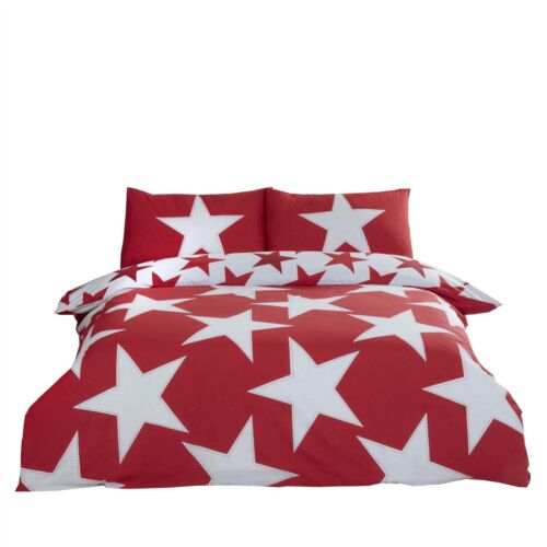 DISTRESSED STARS RED COTTON BLEND REVERSIBLE DUVET COVER *3 SIZES*