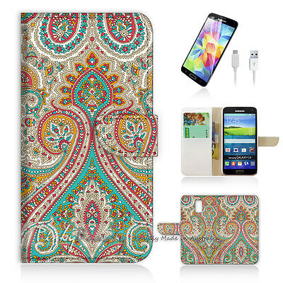 ( For Samsung S5 ) Wallet Case Cover! Indian Tribal Pattern P0023