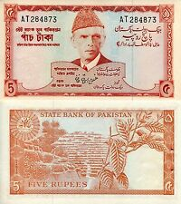 """PAKISTAN 5 Rupees Banknote World Money Currency BILL p20a Note """"XF"""" staple hole"""