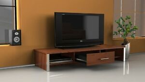 TV-Stand-Widescreen-Unit-Walnut-Chrome-Trim-Finish-Suitable-for-50-Inch-Gosport