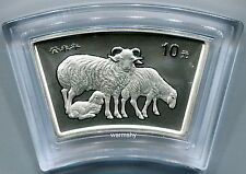 China 2003 Lunar Zodiac Goat Year Fan-shaped Silver Coin 1 oz 10 Yuan Genuine