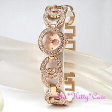 Ladies Rose Gold PL Designer Dress Double Kiss Bling Watch w/ Swarovski Crystals