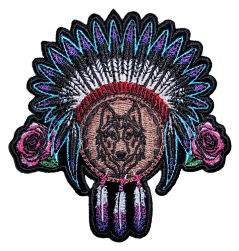 Ladies Native American Indian Wolf, Roses, Feathers Embroidered Patch FREE SHIP