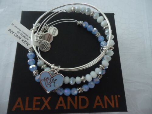 Alex and Ani MOM COLOR INFUSION  SET OF 3  Silver Bangles New W// Tag Card /& Box