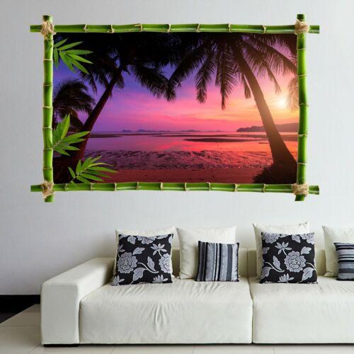 Tropical Beach Palm Sunset Wall Art Stickers Mural Decal Print Home Decor HK9
