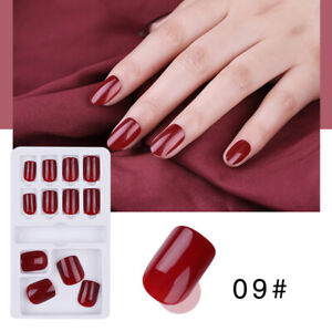 Pure-color-French-False-Nails-Art-Acrylic-Full-Cover-Tips-Manicure-Glue24PCS-G3