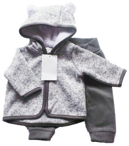 Strick Fleece Set Gr.50 H/&M NEU Jacke Hose grau weiß baby newborn frühchen
