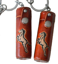 A Pair of Leather ChapStick/toothPick Holder,Pill Case.Horse Pattern. Brown