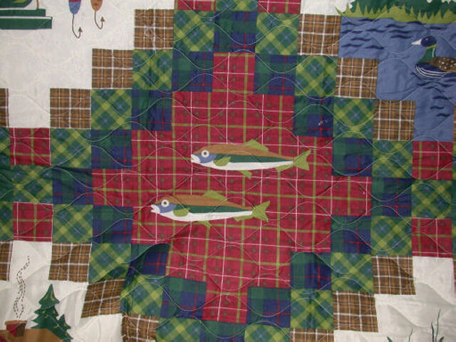2 shams & Queen full double QUILT Lures Fish FLY fishing Lodge cabin lake boat