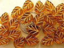 25 Topaz Gold Inlay Czech Glass Leaves 10mm x 8mm