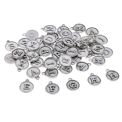 100PCS Tibetan Silver Crafts Jewelry Making Mixed Letter Charms Pendants 15*12mm