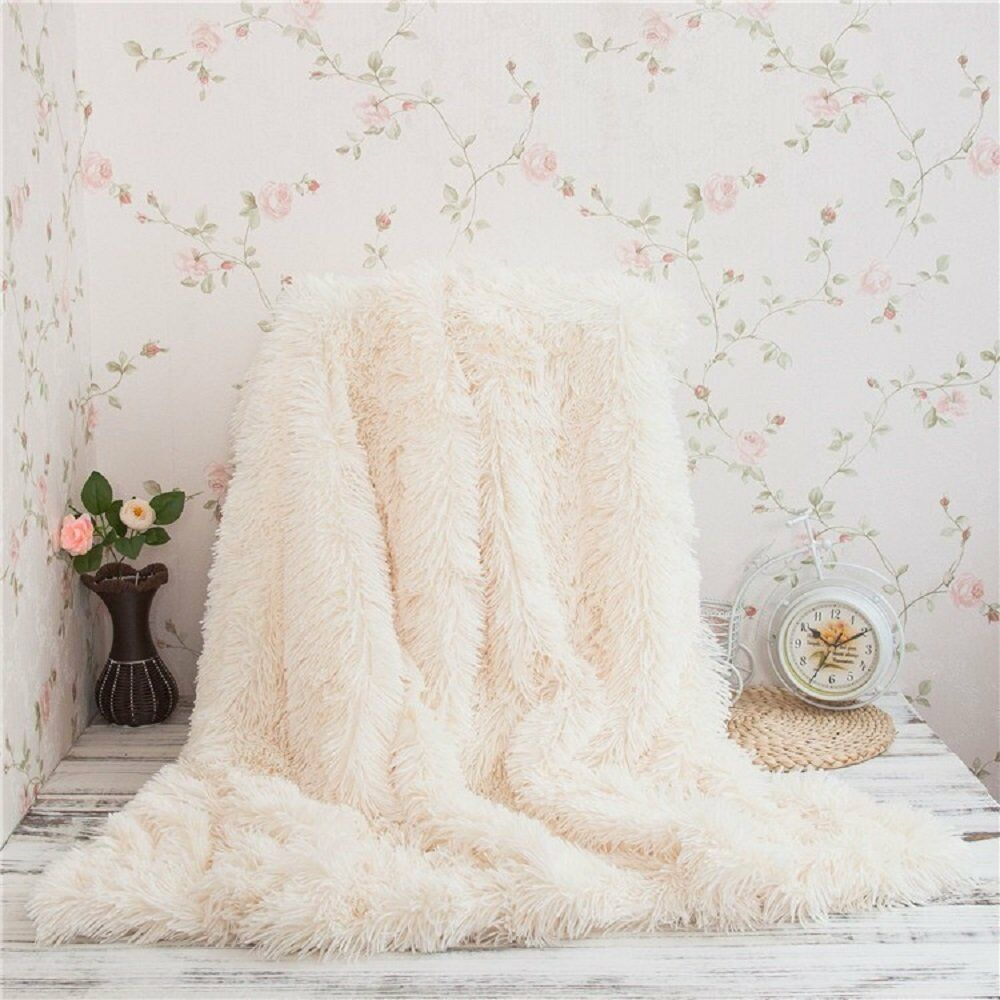 Super Soft Shaggy Faux Fur Blanket Ultra Plush Decorative Throw Blanket