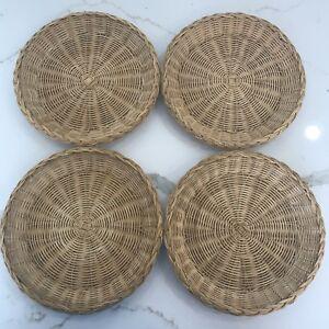 Image is loading Lot-of-4-Vintage-Wicker-Rattan-Bamboo-Paper- & Lot of 4 Vintage Wicker Rattan Bamboo Paper Plate Holders 8 ...