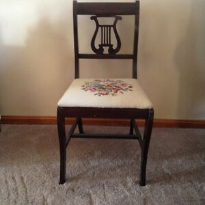 Fantastic Details About Vintage Lyre Harp Back Wood Side Chair Ncnpc Chair Design For Home Ncnpcorg