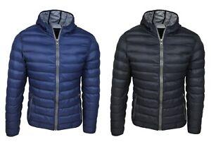 Piumino-uomo-casual-nero-blu-giacca-giubbotto-100-grammi-slim-fit-con-cappuccio