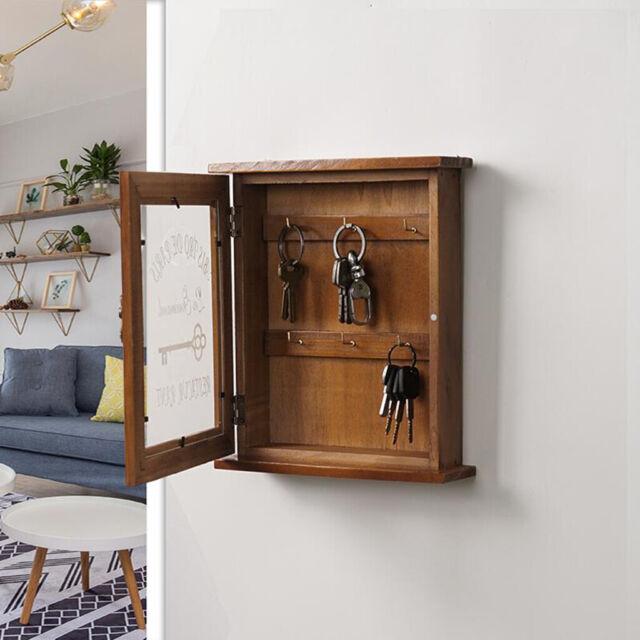 Wooden Wall Mounted Key Box /& Brackets Cupboard Hooks Holder Storage Cabinet