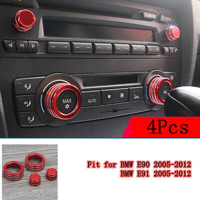 4Pcs AC Climate Control Radio Volume Knob Ring Covers For BMW E90 E91 Red