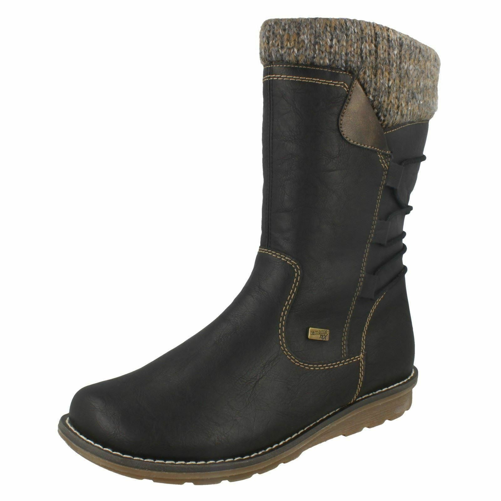 Ladies Remonte R1094 Synthetic Zip Up Mid-Calf Boots With Lambswool Linings