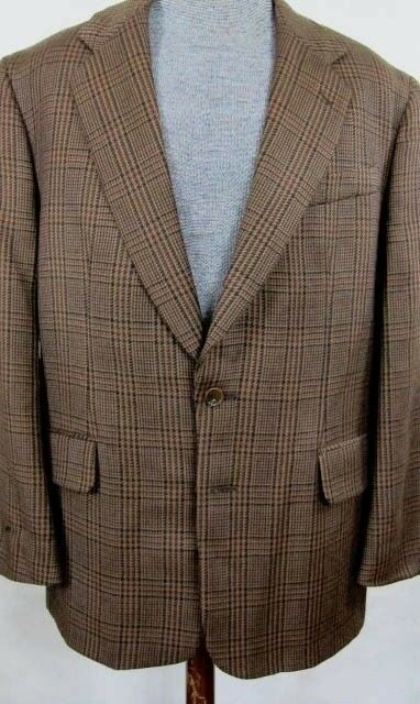 NEW Freedberg Collection Chocolate Glenplaid Wool Sport Coat 44R